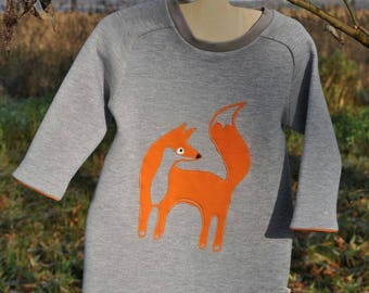 Girl dress Little girl dress Toddler dress Kids dress Fox apliquet dress Warm dress Winter clothes