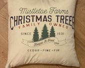 Vintage Christmas Pillow Cover 18 x18 Christmas Pillow Farmhouse Pillow Vintage Home Decor Christmas Tree