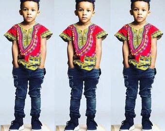 African Clothing Kids Children Dashiki Shirt Summer Wear Hand Made Kid