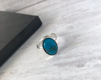 Turquoise Ring, Sterling Silver Turquoise Ring, Turquoise Gemstone, Oval Gemstone, Adjustable Ring, UK, December Birthstone, Boho Style