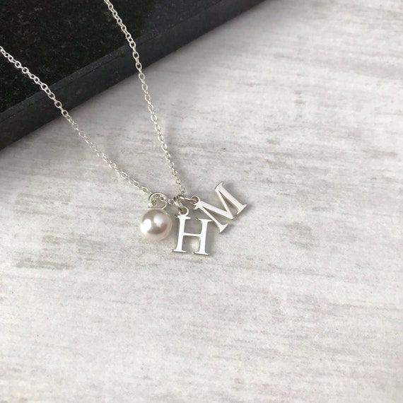 f65b00760ff2 Sterling Silver Double Initial Charm Necklace with Swarovski | Etsy