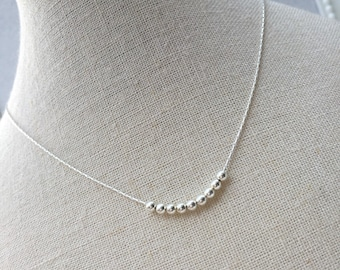 Sterling Silver Bead Necklace/silver bead/Delicate chain/Everyday Wear/Layered/Gift/Bridal/Choker/Personalise/Birthday