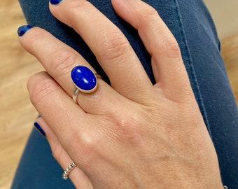Lapis Lazuli Ring, Sterling Silver Adjustable Ring, Lapis Lazuli Gemstone, Blue Gemstone, Gemstone Jewellery, Blue Jewellery,
