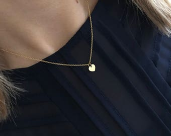 Gold Heart Necklace/14k Gold Filled/Gold Heart Charm/Everyday/Layer/Gift/UK/Heart Jewellery/Love