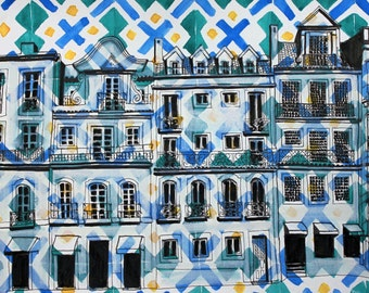 Lisbon, Green, Blue and Yellow * Signed and numbered fine art print of Azulejos Portugueses