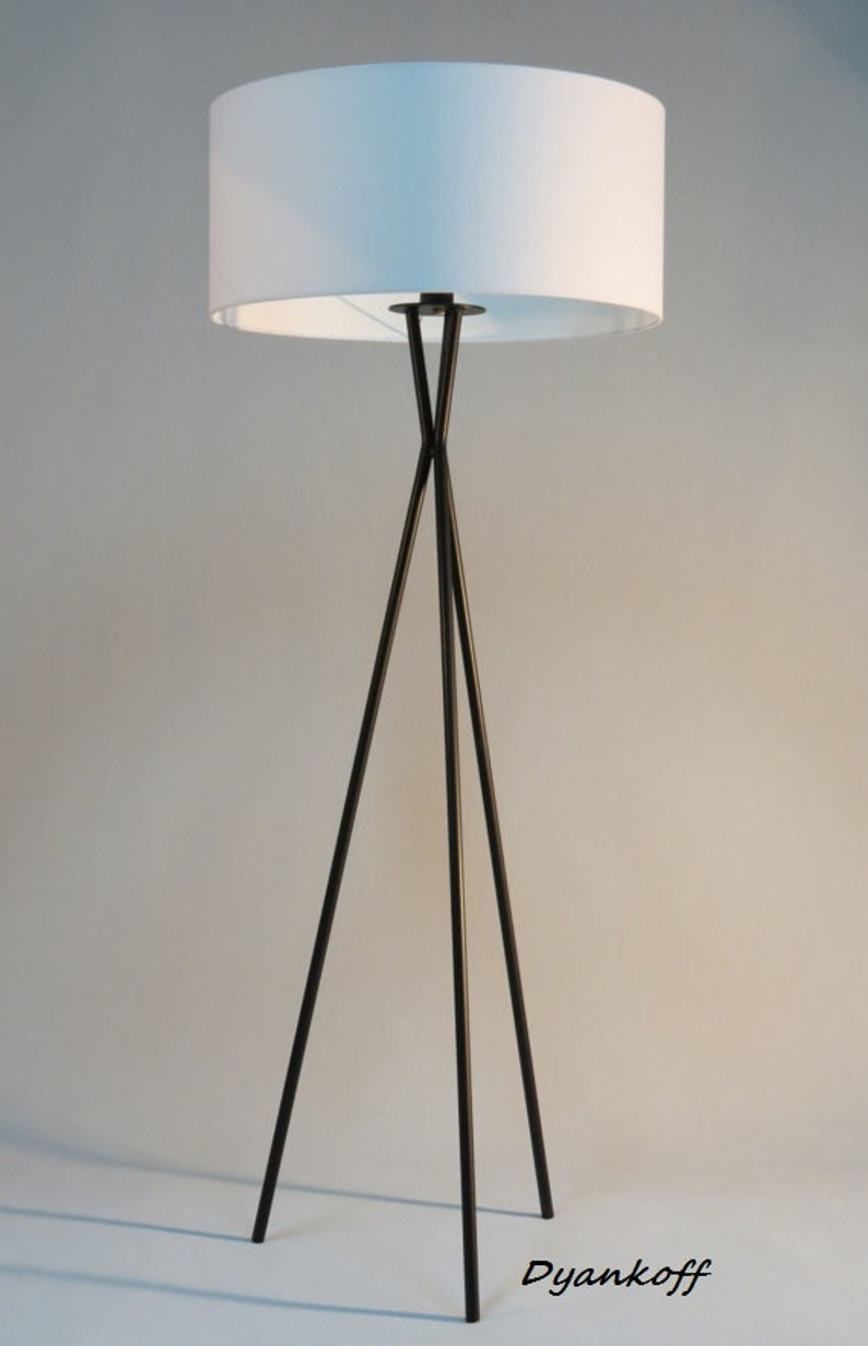 drum lampshade Model Vesi Handmade tripod floor lamp with black colored metal stand different colors lampshades modern style