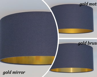 Gold mirror, gold brush,gold matt,Handmade Navy blue Pendant lamp,Hanging lamp,Ceiling lamp,drum,lightshade, metalic foil,lampshade