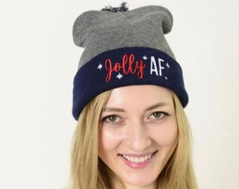 Jolly AF Holiday Beanie - Black / Blue Winter Pom Beanie Hat - Jolly As F*CK