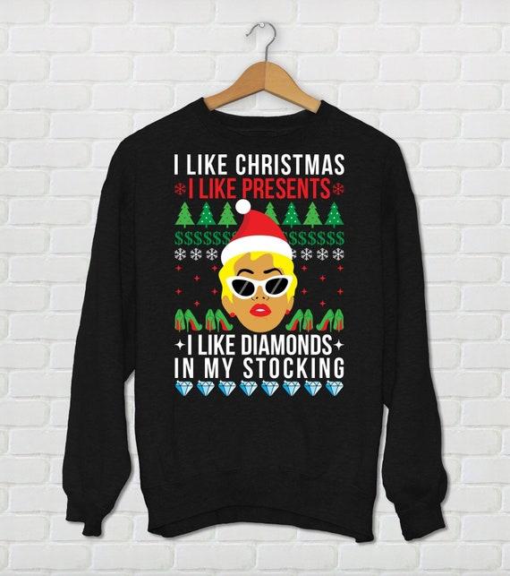 Unisex Cardi B Christmas Sweater I Like Christmas I Etsy