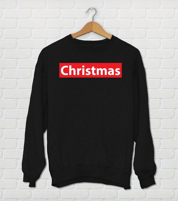 Christmas , Fake Supreme , Supreme Parody Sweater, Christmas Black Red \u0026  White Holiday Sweater , Ugly Sweater Party Design