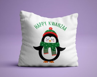 Happy Kwanza Pillow - Happy Kwanza Pillow - White Penguin Holiday Pillow
