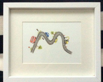 Custom Letter painting for kids. Road, vehicle themed. Original watercolour. Made to order.
