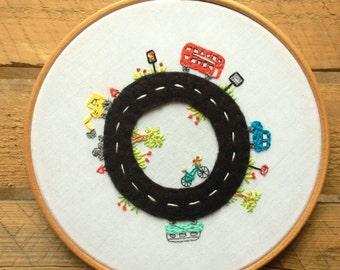 Embroidery hoop art. Custom personalised art. Kids bedroom decor. Road theme bedroom.