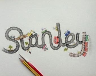 Custom road themed kids art. Watercolour name art.
