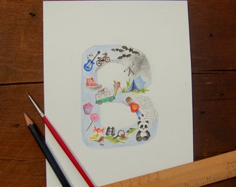 Custom 'letter' painting. original personalized  watercolour.