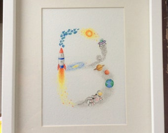 Custom name letter painting. Hand drawn Space theme, painted in watercolours. Framed