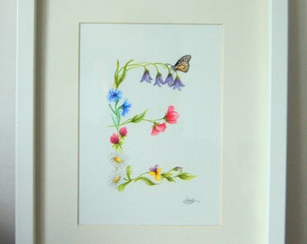 Custom Letter painting. Hand drawn floral design and painted in Watercolours. Framed.