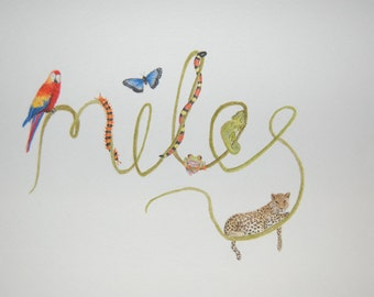 Custom Jungle Animal Name Painting