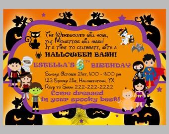 halloween invitation kids printable halloween birthday etsy