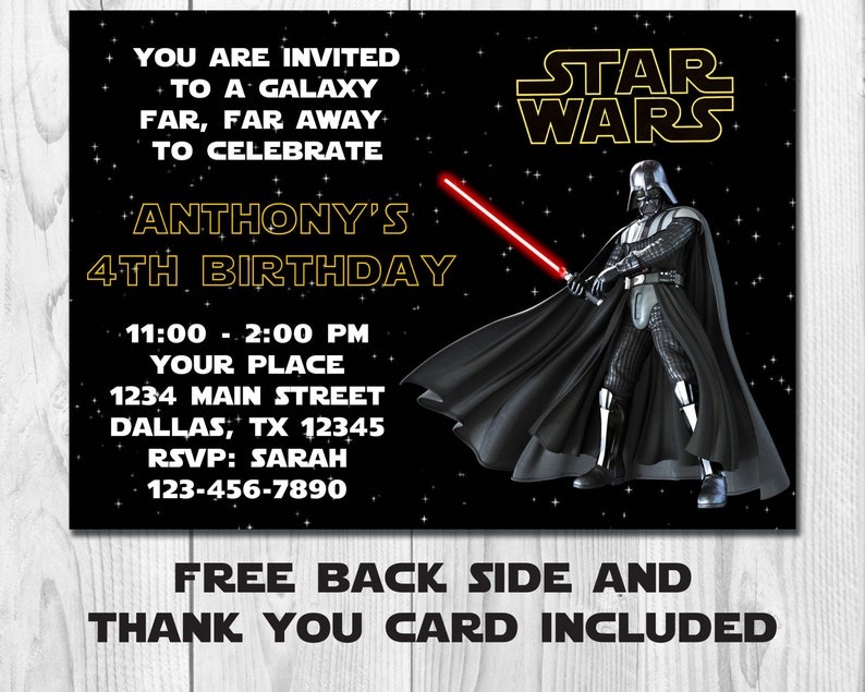 photo about Star Wars Invitations Free Printable named Star Wars Invitation Darth Vadar,Star Wars Birthday Invitation,Star Wars Birthday Social gathering Invite, Printable, Absolutely free Again Facet and Thank Yourself Card