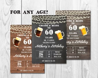 Cheers and Beers to 60 years, Surprise 60th Birthday Invitation,Adult Birthday Party Invitation for Men,Chalkboard,Wooden,Three Backgrounds