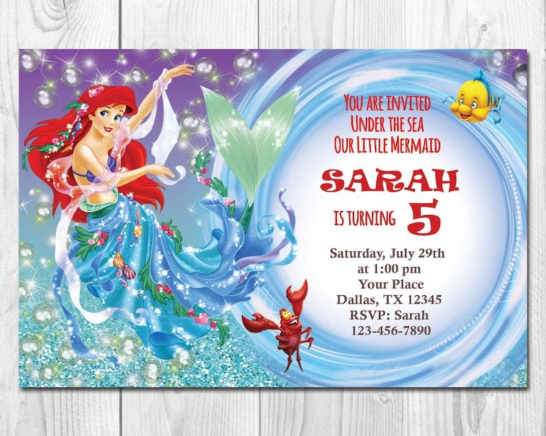 Ariel Invitation Little Mermaid Printable Birthday Party