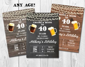 Cheers and Beers to 40 years, Surprise 40th Birthday Invitation,Adult Birthday Party Invitation for Men,Chalkboard,Wooden,Three Backgrounds