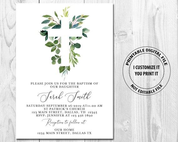 Grün Taufe Einladung Boho Aquarell Rustikale Einladung Taufe Kommunion Kreuz Einladung Druckbare Digitale Datei Einladen