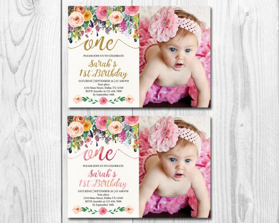 Floral 1st Birthday Invitation Girl First Birthday Invitation Watercolor Flowers One Birthday Invitation Card Gold Glitter Or Watercolor