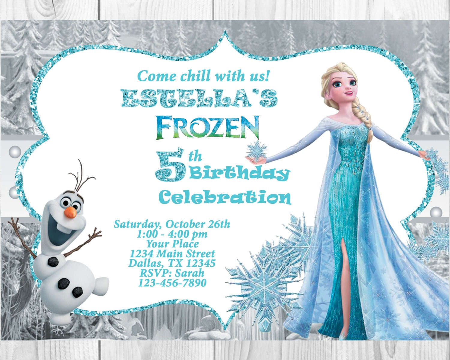 Frozen Birthday Invitation ElsaOlaf Frozen Invitation | Etsy
