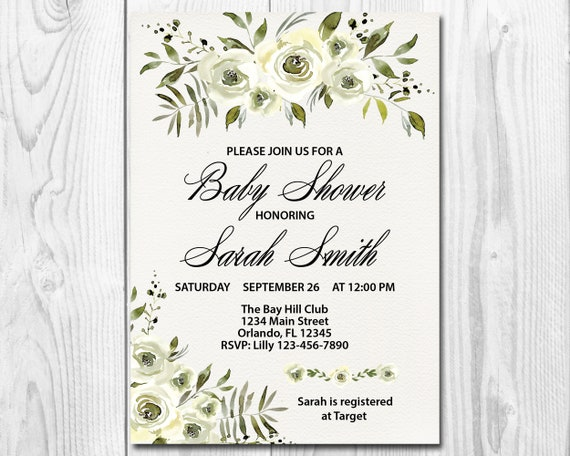 Rustic Baby Shower Invitation Country Chic Watercolor White Etsy