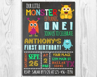 Monster Birthday Invitation Monster Birthday Party Invitation Monster Party Little Monster Boy 1st Boy First Birthday Invitations