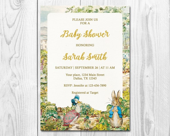 Peter Rabbit Baby Shower Invitation Beatrix Potter Shower Invite Rabbit Baby Shower Gender Neutral Rustic Invite Victorian Invite W011