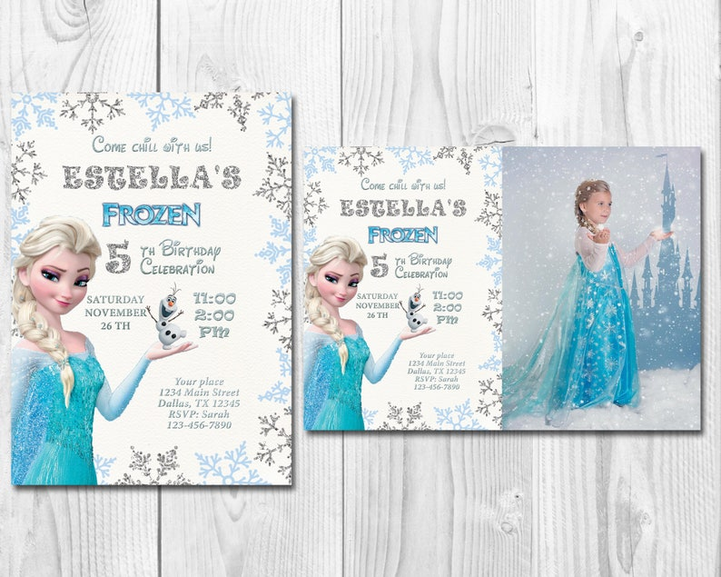 Frozen Birthday Invitation Elsa Anna Olaf