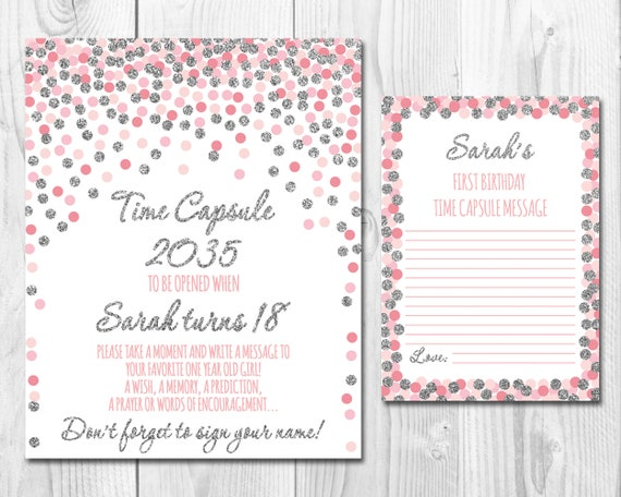 Time Capsule Sign,First Birthday,Pink And Silver Confetti,Time Capsule Sign  & Message Cards 1st Birthday,Time Capsule Baby Girl Digital File