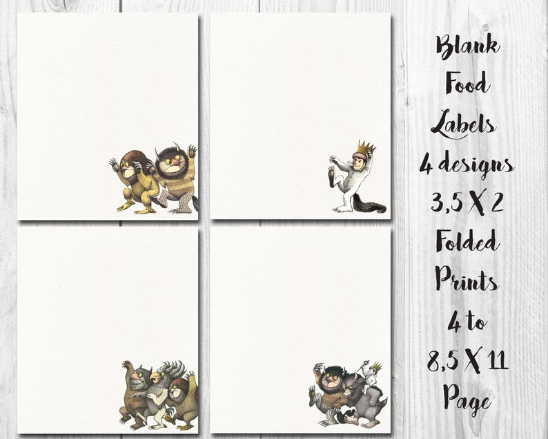 image 0  sc 1 st  Etsy & Where The Wild Things Are Food Labels Wild Things Birthday | Etsy