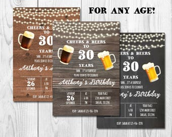 Cheers and Beers to 30 years, Surprise 30th Birthday Invitation,Adult Birthday Party Invitation for Men,Chalkboard,Wooden,Three Backgrounds