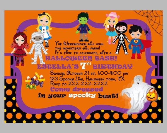 Art culos similares a invitaci n de halloween a los ni os - Fiesta halloween infantil ...