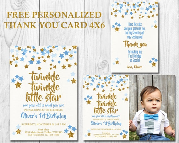 Twinkle Little Star First Birthday Invitation Boy