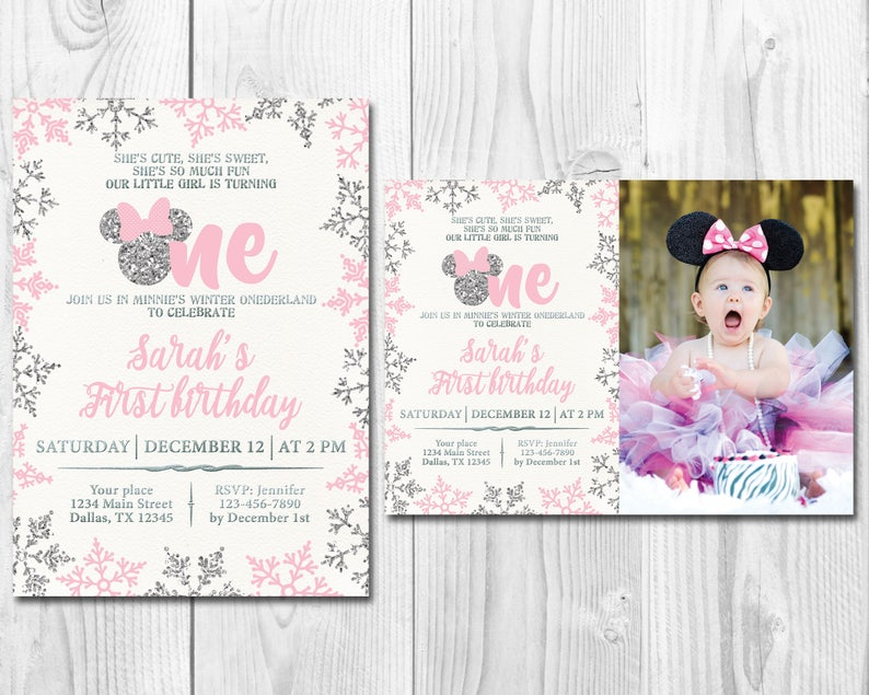 Pink And Silver Minnie Mouse First Birthday Party Invitation