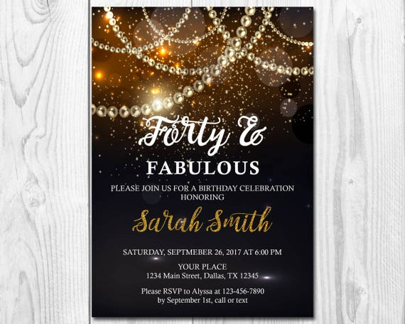 black and gold invitation forty fabulous invitation etsy