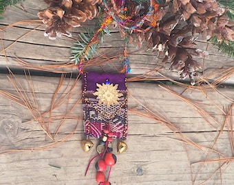 Bolivian Textiles Necklcace, Andean Culture Inspired Necklace, Ethnic Textlie Necklace.