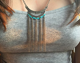 Antiqued Silver Plated Gypsy Necklace, Bohemian Statement Necklace.