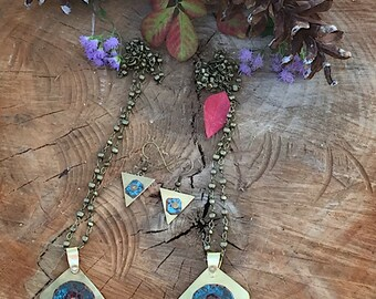 Brass And Copper Patina Set of Necklace abd Earrings, Brass and Cooper and Earrings