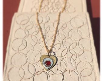 Heart Necklace, Brass and Sterling Silver Heart Necklace, Red Carnelian Cabachoon Brass Pendant Necklace