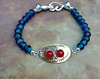 Blue Beads and Brass Bracelet, Bohemian Bracelet , Czech Beads Bracelet