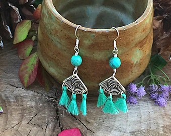 Bohemian Tassel Dangle Earrings, Silver and Turquoise Tassel Earrings, Gypsy Tassel Dangle Esrrings