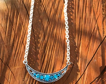 Cresent Moon Silver Necklace, Silver Chain Moon Charm Necklace