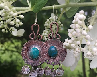 Copper and Turquoise Dangle Earrings, Bohemian Copper and Sterling Silver Earrings