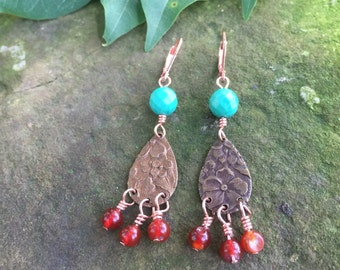 Copper Dangle Earrings, Turquoise and Red Agate  Copper Earrings,  Dangle Copper Earings, Bohemian Earrings